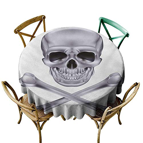 Zmstroy Oil-Proof and Leak-Proof Tablecloth Grey Vivid Skull and Crossed Bones Dangerous Scary Dead Skeleton Evil Face Halloween Theme Table Decoration D51 Dimgray -