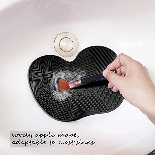 Makeup Brush Cleaning Mat, ESARORA Makeup Brush Cleaner Pad Set of 2 Cosmetic Brush Cleaning Mat Portable Washing Tool Scrubber Suction Cup (Black)