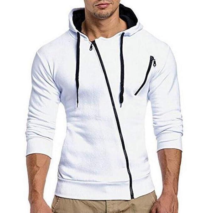 Oneforus Sudadera Retro para Hombre Moda con Cremallera Oblicua Jersey con Capucha de Manga Larga Suéter Tops: Amazon.es: Ropa y accesorios
