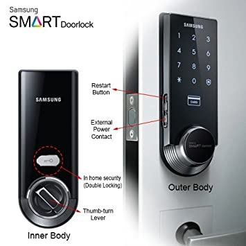 Samsung Ezon SHS-3321 Keyless Smart Universial Deadbolt Digital Door Lock Black  sc 1 st  Amazon.com : amazon door lock - pezcame.com