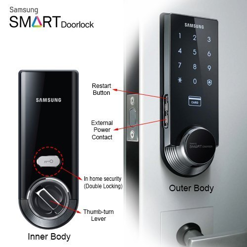 Samsung Ezon SHS-3321 Keyless Smart Universial Deadbolt Digital Door Lock, Black by Samsung