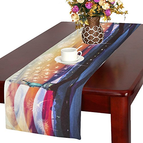 Celebrating 4th of July Polyester Table Runner Placemat  American Flag Liberty Statue Tablecloth