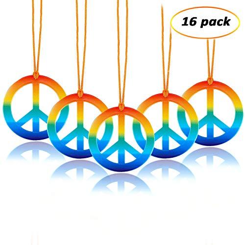 eborder 16 Sets Hippie Peace Sign Pendant Necklace 1960