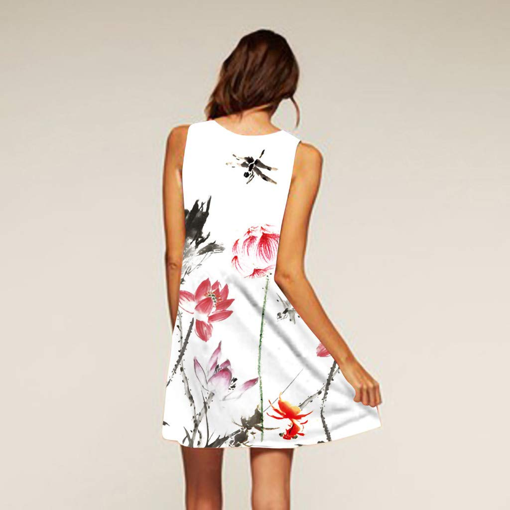 Gibobby Ladies Sling Strapless Funny Graphic Print Tank Top Dress Sleeveless Mini A-Line Beach Sundress Pencil Dress
