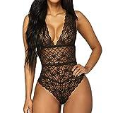 AOmahh Women Lingerie Lace Deep V Temptation Bodysuit Features Plunging Nightwear (Black, XL)