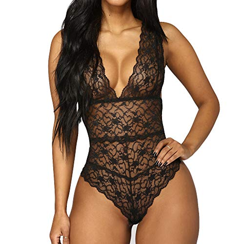 Hurrybuy Women Deep V Backless Teddy Lingerie Halter Lace Bodysuit Babydoll Underwear (Boyshort Mesh Fine)