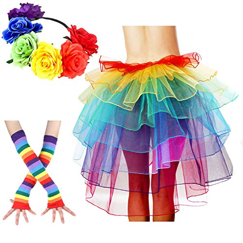 Women's Rainbow Wave Wig Long Gloves Socks 8Layered Tail Tutu Skirt Floral Headband Set (B)]()