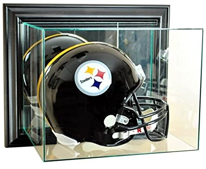 6dcc7570 Full Size Football Helmet Wall Mounted Glass Display Case with Black Frame