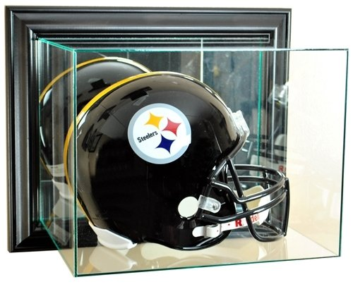 Wall Mounted Football Case (Full Size Football Helmet Wall Mounted Glass Display Case with Black Frame)