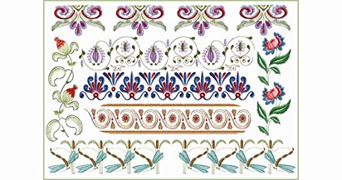 ABC Machine Embroidery Designs Set on the CD Orient Flower Borders - 7 Designs, 4