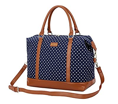 BAOSHA HB-28 Ladies Women Canvas Travel Weekender Bag Overnight Carry-on Shoulder Duffel Tote Bag