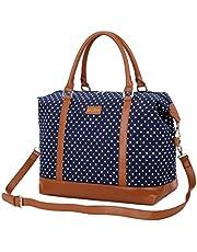 BAOSHA HB-28 Ladies Women Canvas Travel Weekender Bag Overnight Carry-on Shoulder Duffel Tote Bag (Blue Dot)