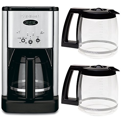 Cuisinart DCC-1200 Brew Central 12 Cup Programmable Coffeemaker + Two Bonus Carafes Bundle Includes: DCC-1200 Brew Central 12 Cup Programmable Coffeemaker (Silver), and Two (2) Cuisinart 12 Cup Replacement Carafes - (Black) by Cuisinart (Image #1)
