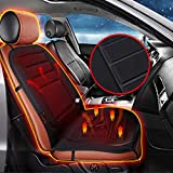 Audew 12V Car Front Seat Hot Heater Heated Pad Cushion Winter Warmer Cover Black