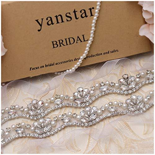 Crystal Organza - Yanstar Hand Silver Rhinestone Crystal Wedding Bridal Belts With White Organza For Bridal Bridesmaid Gowns