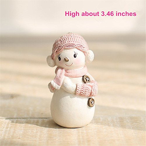 """Mini Snowman with Winter Scene Figurine - 3.4"""", Resin Snowman Garden & Home Statue, Lovely Chirstmas & Wedding Snowman Doll Figurine Decor, Pink and White Series Snowmen Ornament Craft Personalized To"""