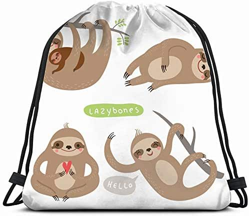 Set Sloths Funny Cute Lazy Animals Wildlife Sloth The Arts Drawstring Backpack Gym Sack Lightweight Bag Water Resistant Gym Backpack For Women&Men For Sports,Travelling,Hiking,Camping,Shopping Yoga