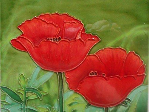 6 X 6 INCH ART POPPY CERAMIC TILE BY TILE CRAFT