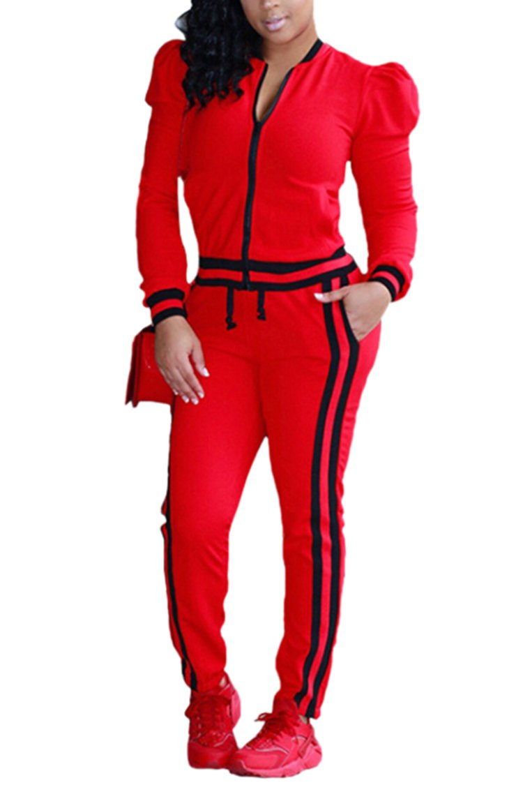 Pink Queen Women Fall Puff Sleeve Ful-Zip Jacket + Pants Jogging Suits Tracksuit ,Red,Large