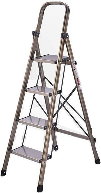 Edificio multifuncional escaleras de tijera, Escuela/centro comercial/oficina Construcción Escalera de aleación de aluminio de cuatro pasos de escalera de tijera de metal estable (Tamaño: 68 * 136: Amazon.es: Bricolaje y herramientas