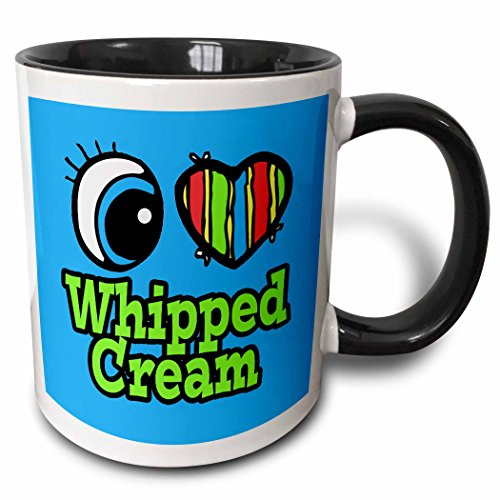3dRose Dooni Designs Eye Heart I Love Designs - Bright Eye Heart I Love Whipped Cream - 15oz Two-Tone Black Mug (mug_106698_9)