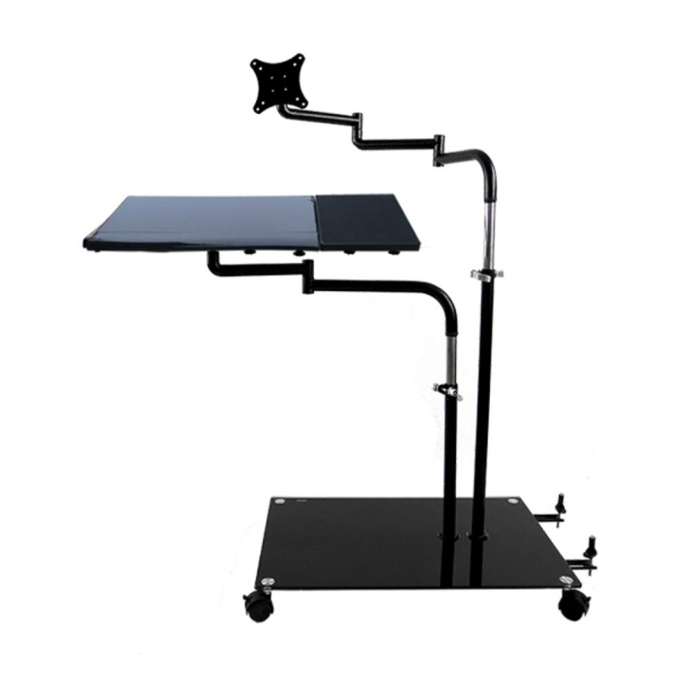 LIULIFE Computer Desk Height Adjustable Mobile Standing Laptop Desktop with Keyboard Tray - Comfortable Office and E-Sports Game,Black-KeyboardTray45cm