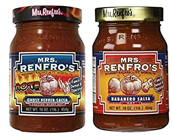 Mrs Renfros Ghost Pepper Salsa 16 oz & Habanero Hot Salsa 16 oz (Variety Pack
