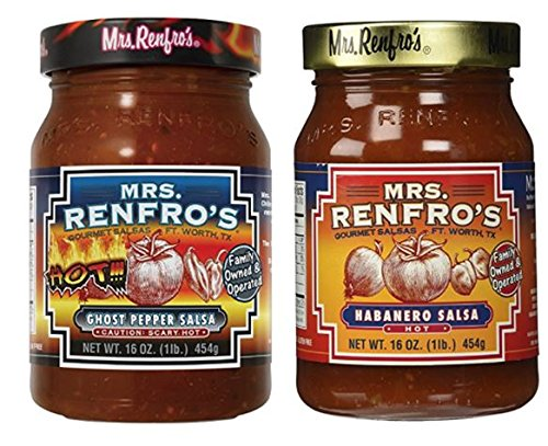 (Mrs Renfros Ghost Pepper Salsa 16 oz & Habanero Hot Salsa 16 oz (Variety Pack))