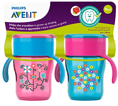 Philips Avent Baby Girl Drinking cup 9M The first Big Kid cup Pink //Purple New