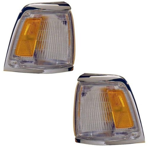 - 1992-1995 Toyota Pickup Truck 2WD 4x2 (With Chrome Trim, Paint to Match) Corner Park Light Turn Signal Marker Lamp Pair Set Right Passenger And Left Driver Side (1992 92 1993 93 1994 94 1995 95)