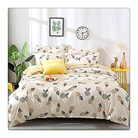 /… White Yellow Fruit Design Duvet Cover,2 Pillow Cases.Without Comforter Tropical Pineapple, White and Yellow, Twin 60x80 3pcs KFZ Pineapple Print Bedding Set Duvet Cover Set