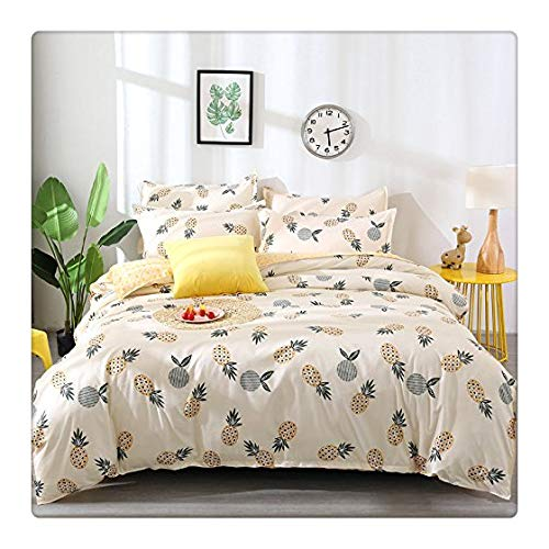 KFZ Pineapple Print Bedding Set Duvet Cover Set [Duvet Cover,2 Pillow Cases.Without Comforter] White Yellow Fruit Design (Tropical Pineapple, White and Yellow, Queen/Full 78x91 3pcs)