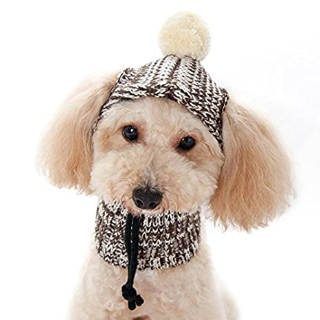 9e2090d40d9 Amazon.com   Dogo Sweater Dog Beanie and Neck Hat Large Brown   Pet Supplies