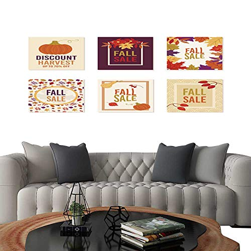 - 3 Piece Wall Art Painting Thanksgiving autumn fall sale banner Flyer card poster holiday birthday invitation card template with pumpkin squash leaves and flowers including one on retro line seamless