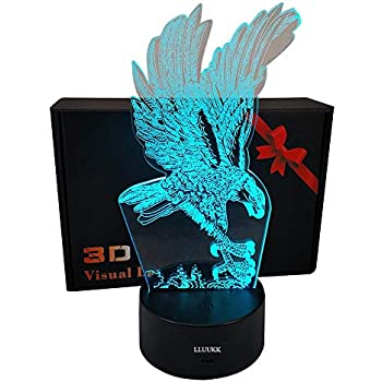 Eagle Wing Animal Toys Visual 3D Night Light 2D lamp Xmas Chirstmas Festival Birthday Nursery Bedroom Desk Table Decoration for Baby Kids Children Lovers