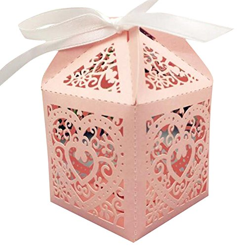 Lothver 50 pcs Square Shape Paper Chocolate Gift Box Love Heart Hollow Creative Candy Box with Ribbons for Wedding Birthday Party Baby Shower (Pink Square)  ()