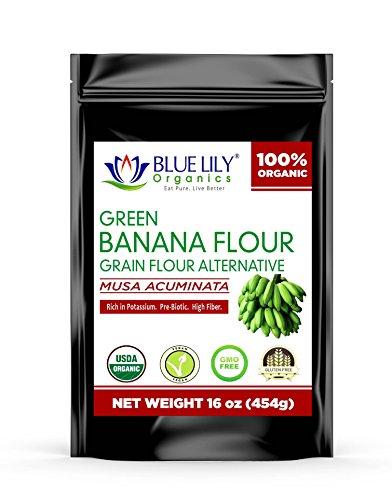 Blue Lily Organics Green Banana Flour 16 Oz (1 Lb) Certified Organic, Non-GMO, Vegan