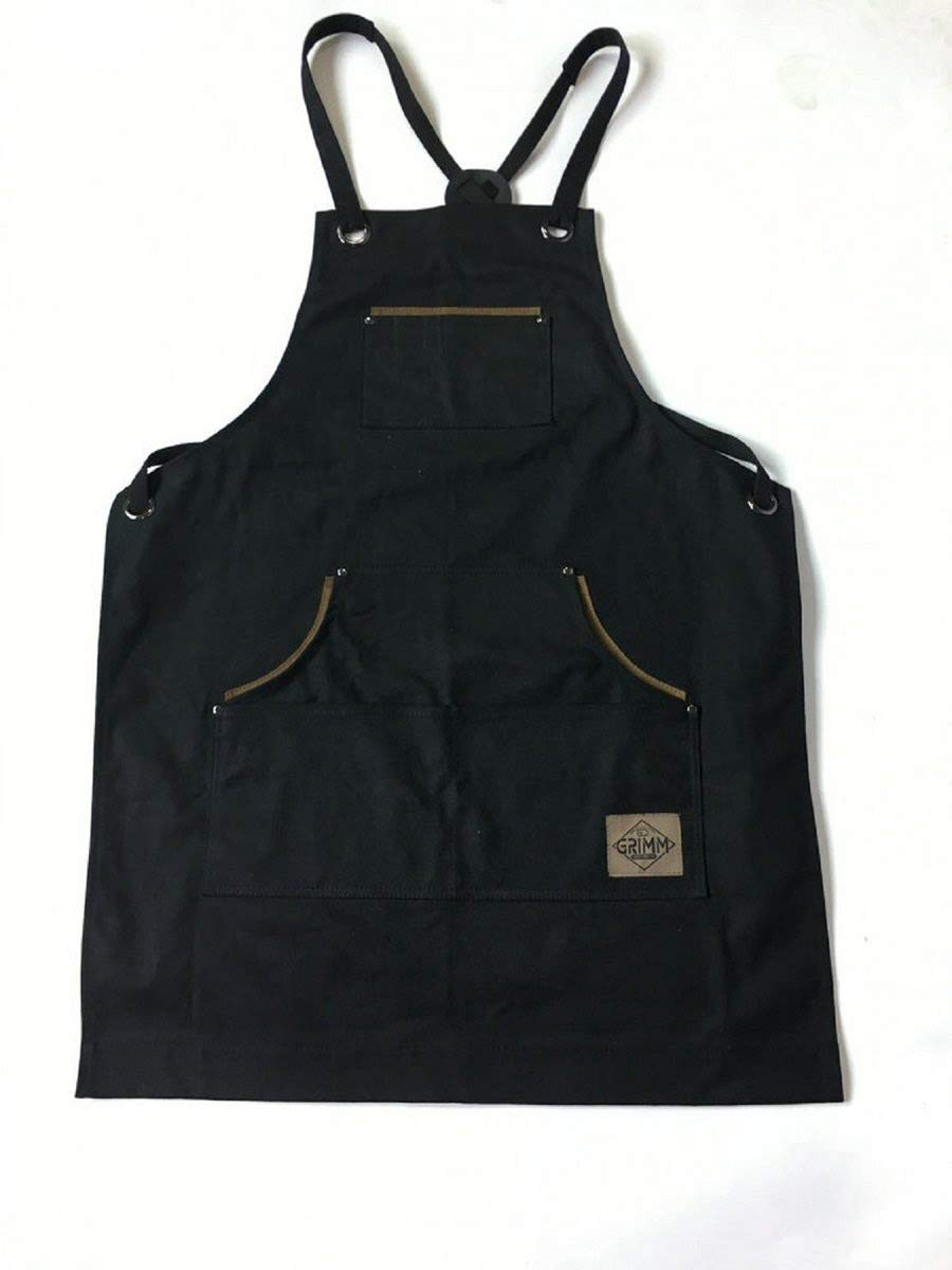 Mens Shop Work Aprons with Pockets - Heavy Duty Waxed Canvas Blacksmith or Carpenter Tool Craft Apron for Utility or Workshop Use