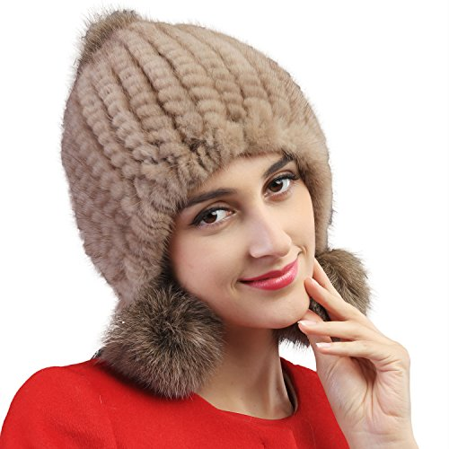 Mandy's Women's Autumn Winter Warm Mink Fur Hats New Dress Show Cap Flexible (One Size, 009) by Mandy's