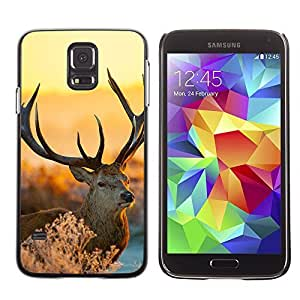 Cute Painting Slim pc Cover - Samsung Galaxy S5 ( Majestic Stag Deer Winter )