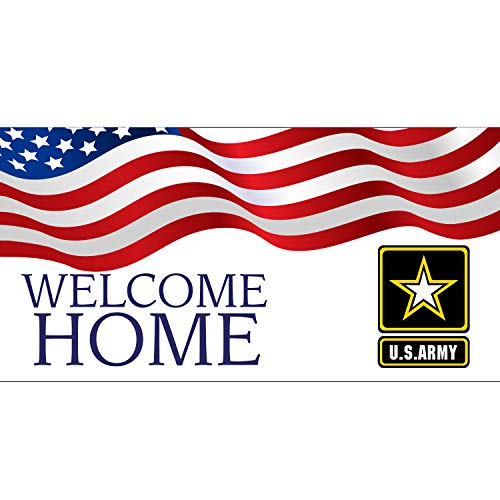 (Welcome Home US Army Banner 11 Oz Vinyl PVC Flex Banners with Hemmed Edges & Metal Grommets Free (4' X 2'))