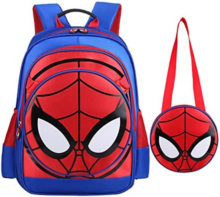 SUNBABY Boys' Backpack Spider Fans Gift Waterproof Comic School Bag with Lunch Kit