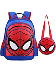 SUNBABY Boys Backpack Spiderman Fans Gift Waterproof Comic School Bag With Lunch Kit (Spiderman-blue, One Size)