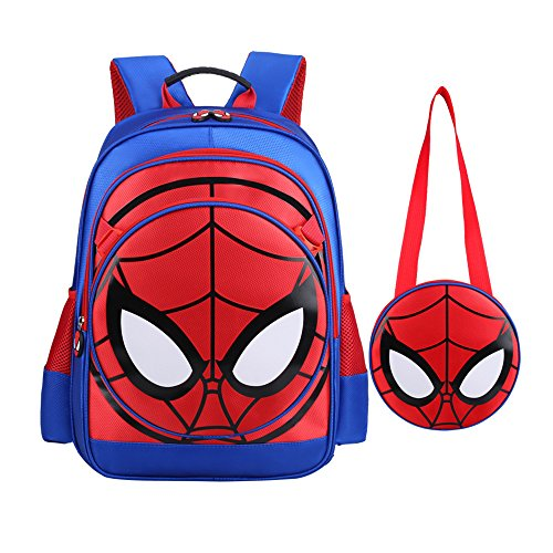 SUNBABY Boys' Backpack Spiderman Fans Gift Waterproof Comic School Bag With Lunch Kit (Spiderman-blue, One (Spider Man Toy Bag)