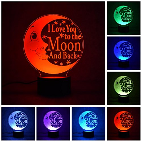 I Love You 3D LED Optical Illusion Lamps,Creative Night Lighting 7 Color Changing Decoration Light Table Lamps For Living Room - Acrylic Flat ABS Base USB Charger Home Decoration & (Awesome Decorations)
