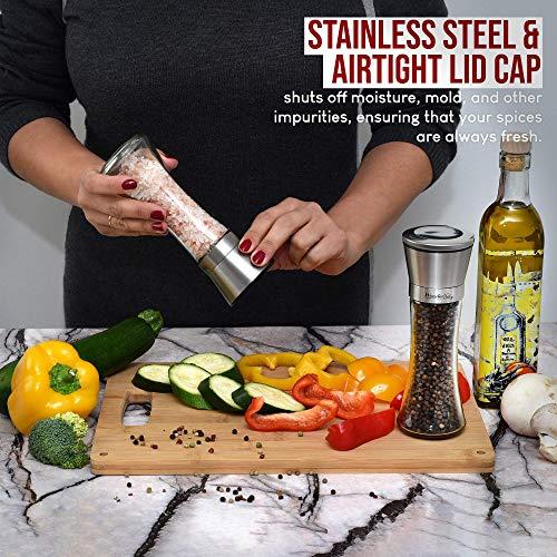 Salt and Pepper Grinder Set of 2 - Adjustable Ceramic Sea Salt Grinder & Pepper Grinder - Tall Glass Salt and Pepper Shakers - Pepper Mill & Salt Mill with FREE Cleaning Brush