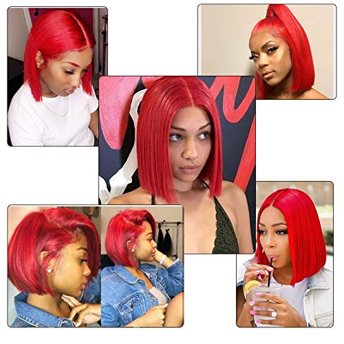 Red Lace Bob Wig 13X6 Deep Part Longer Line Human Hair Straight Lace Front Short Wig Pre Plucked with Baby Hair 12