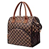 WODKEIS Lunch Bag Insulated Lunch Box Cooler Bag Large Lunch Tote Luxury Snacks Organizer Lunch Holder for Women Men Adults Work Picnic Hiking, Water-resistant, Wide-Open, Brown Lattice