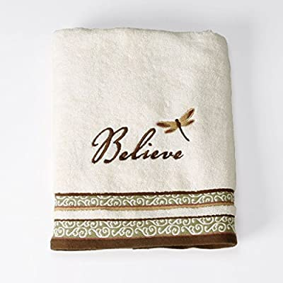 Saturday Knight Inspire Cotton Bath Towel, 25-Inch by 50-Inch, Natural - INCLUDES: 1 Inspire Bath Towel THEME: Create a serene and relaxing experience in your bathroom DECOR: Featuring the word Believe and a dragonfly embroidered on a neutral background - bathroom-linens, bathroom, bath-towels - 51WxLyrZhhL. SS400  -
