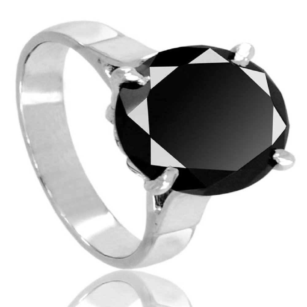Certified 4.15 Ct Round Brilliant Cut Black Diamond Solitaire Silver Ring AAA Quality